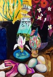 Tadpoles, magnolia petals - £300 - Acrylic ink on paper