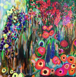 Barbara's garden - SOLD - Ink and watercolour on canvas