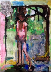 'Getting wet' - £250 - Water colour, pigment and mica on paper